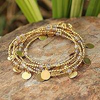 Gold plated wrap bracelet, 'Moonlit Suns' - Handcrafted Gold Plated Agate Wrap Bracelet