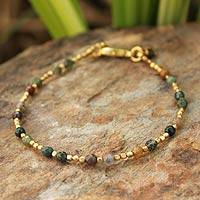 Gold plated jasper beaded bracelet, 'Forest Divine Deva' - Unique Gold Plated Jasper Bracelet from Thailand