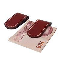 Leather money clips, 'Smart Spender' (pair) (Thailand)