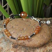 Carnelian beaded bracelet, 'Autumn Sunset' - Carnelian beaded bracelet