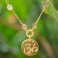 Gold vermeil agate pendant necklace, 'Thai Om' - Inspirational Gold Vermeil Pendant Necklace