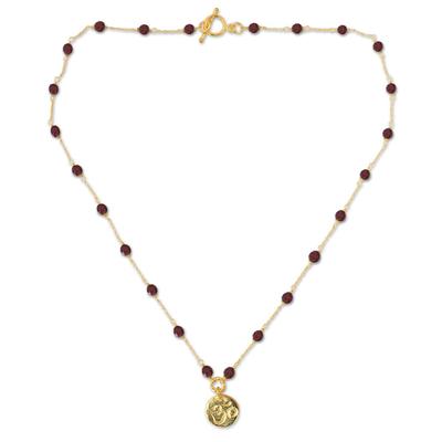 Gold Vermeil Garnet Pendant Necklace