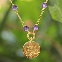 Gold vermeil amethyst pendant necklace,