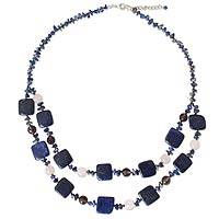 Lapis lazuli and rose quartz beaded necklace, 'Harmony in Blue' (Thailand)