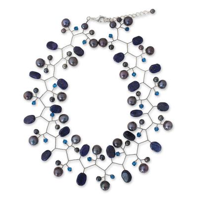 Cultured pearl and lapis lazuli beaded choker