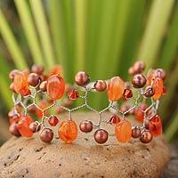 Cultured pearl and carnelian beaded bracelet, 'Orange Glam' (Thailand)