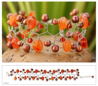 Cultured pearl and carnelian beaded bracelet, Orange Glam