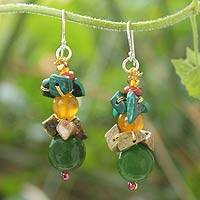 Malachite and unakite beaded earrings, 'Thai Harmony' - Malachite and Quartz Beaded Earrings