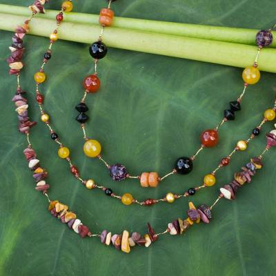Onyx and carnelian beaded necklace, Sweet Autumn