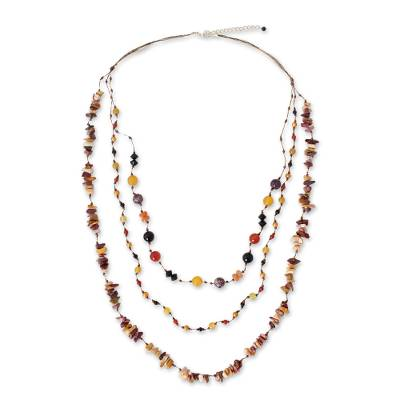Onyx and carnelian beaded necklace