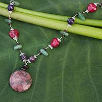 Rhodonite and aventurine beaded necklace, 'Loving Moon' - Rhodonite and aventurine beaded necklace