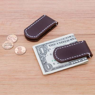 Leather money clips, 'Savvy Spender' (pair) - Leather money clips (Pair)