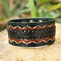 Men's leather wristband bracelet, 'Thai Flame' - Men's Handcrafted Leather Wristband Bracelet