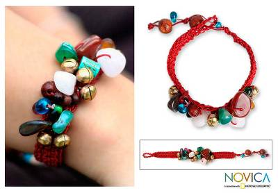 Beaded gemstone bracelet, Flamboyant Feast