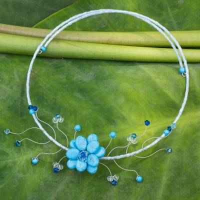 Floral choker, 'Blue Beauty' - Handmade Thai Floral Necklace