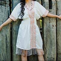 Cotton dress, 'Thai Tribal in White' - Cotton dress
