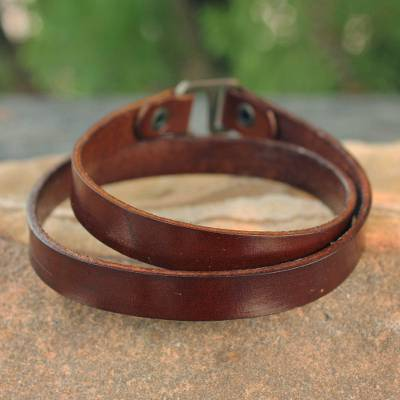 Mens leather wrap bracelet, Enigma in Brown
