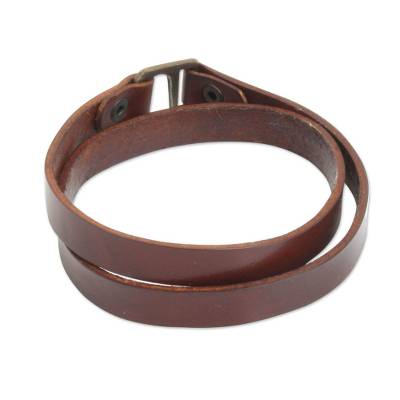 Artisan Crafted Minimalist Brown Leather Brass Clasp Men