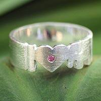 Tourmaline band ring, 'I Love Elephants' - Tourmaline band ring