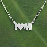 Tourmaline pendant necklace, 'I Love Elephants' - Tourmaline pendant necklace
