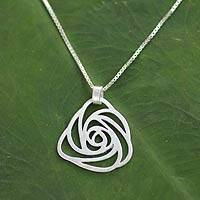 Sterling silver pendant necklace, 'Thai Rose' - Modern Sterling Silver Pendant Necklace