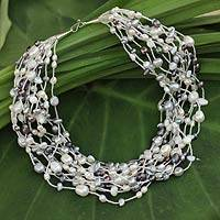 Cultured pearl beaded necklace, 'Opulent Elegance'