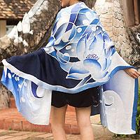 Silk batik shawl, 'Blissful Lotus' - Hand Made Floral Silk Shawl