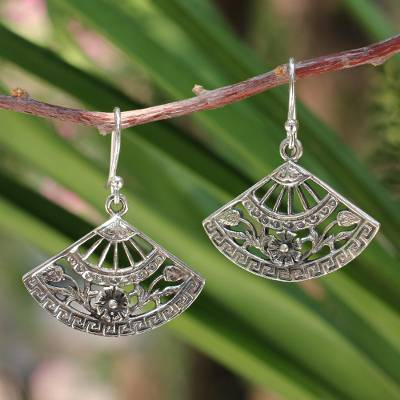 Sterling silver dangle earrings, 'Chiang Mai Breeze' - Floral Sterling Silver Dangle Earrings