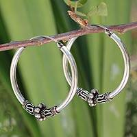 Sterling silver hoop earrings, 'Old Siam' - Handcrafted Sterling Silver Hoop Earrings