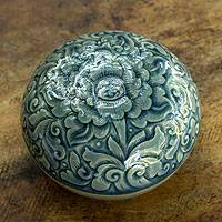 Celadon ceramic box, 'Majestic Peony' - Celadon ceramic box