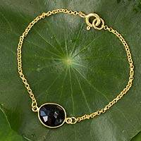 Gold vermeil smoky quartz pendant bracelet,