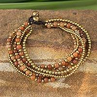 Beaded brass bracelet, 'Sunrise Joy' - Brass Beaded Quartz Bracelet