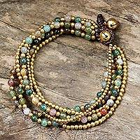 Beaded brass bracelet, 'Joy' - Bohemian Styled Jasper and Brass Beaded Bracelet