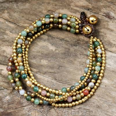 Beaded brass bracelet, 'Joy' - Hand Crafted Brass and Jasper Bracelet from Thailand