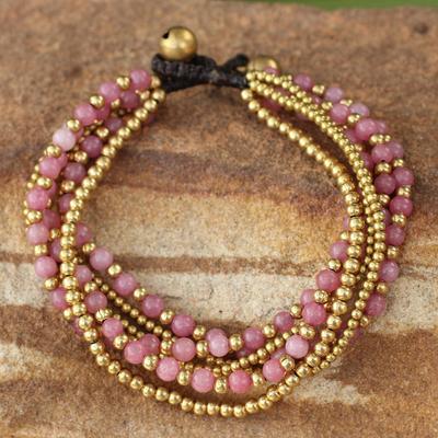 Beaded brass bracelet, 'Rose Joy' - Artisan Crafted Brass and Quartz Bracelet