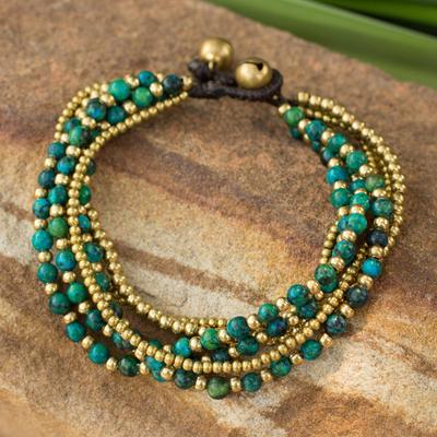 Beaded brass bracelet, 'Evergreen Joy' - Brass and Serpentine Beaded Bracelet