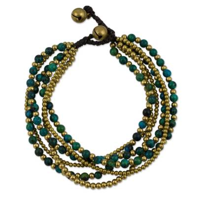 Brass and Serpentine Beaded Bracelet