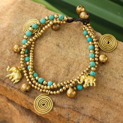 Brass charm bracelet, 'Blue Siam Elephants' - Hand Crafted Brass Charm Bracelet from Thailand