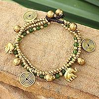 Brass charm bracelet, 'Green Siam Elephants' - Unique Brass and Quartz Beaded Bracelet