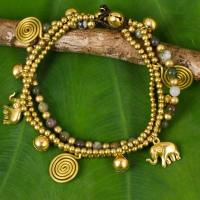 Jasper charm bracelet, 'Colorful Siam Elephants' - Jasper and Brass Beaded Charm Bracelet