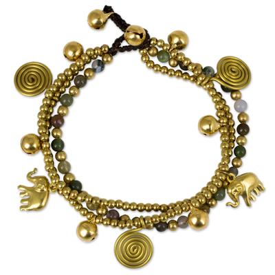 Jasper and Brass Beaded Charm Bracelet