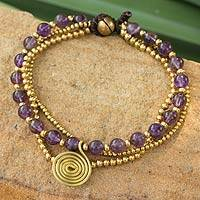 Amethyst beaded wristband, 'Daydreams' - Hand Made Brass Beaded Amethyst Bracelet