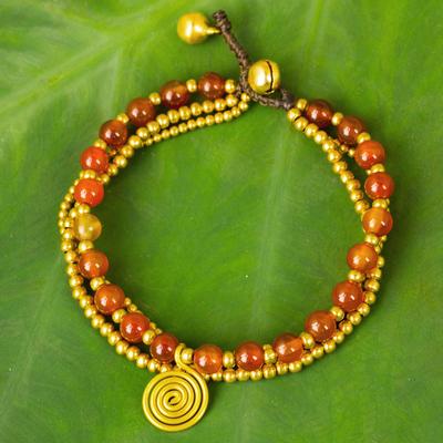 Carnelian beaded wristband, 'Daydreams' - Carnelian Beaded Bracelet from Thailand