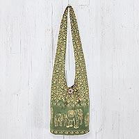 Cotton shoulder bag, 'Green Siam' - Elephants Cotton Shoulder Bag Handmade in Thailand