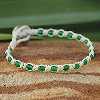 Leather and quartz beaded bracelet, 'Knots of Self-Knowledge' - Handmade Leather and Quartz Bracelet