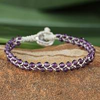 Leather and amethyst braided bracelet,