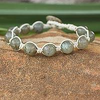 Leather and labradorite beaded bracelet, 'Orbs of Imagination' - Leather and labradorite beaded bracelet