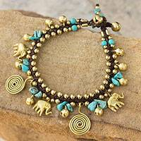 Brass charm bracelet, 'Splendor of Siam' - Calcite and Brass Elephant Charm Bracelet