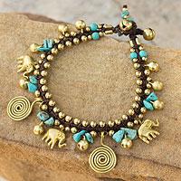 Brass charm bracelet, 'Splendor of Siam'