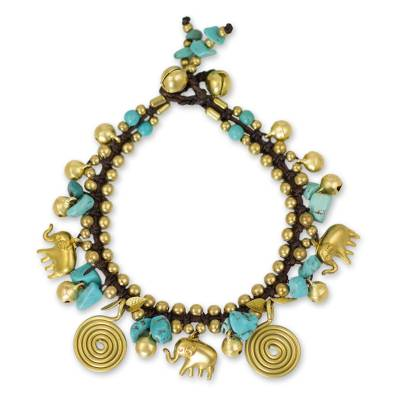 Calcite and Brass Elephant Charm Bracelet